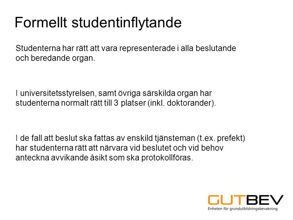 Studenterna har rätt att vara representerade i alla beslutande och beredande organ. I universitetsstyrelsen, samt övriga särskilda organ har studenter