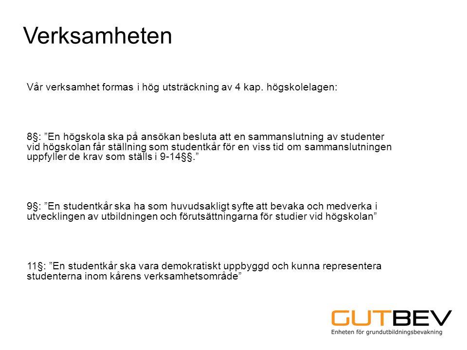 """Verksamheten Vår verksamhet formas i hög utsträckning av 4 kap. högskolelagen: 8§: """"En högskola ska på ansökan besluta att en sammanslutning av studen"""
