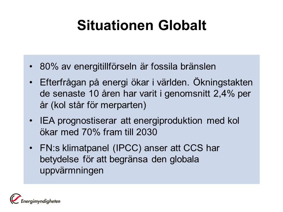 Situationen Globalt 80% av energitillförseln är fossila bränslen Efterfrågan på energi ökar i världen. Ökningstakten de senaste 10 åren har varit i ge