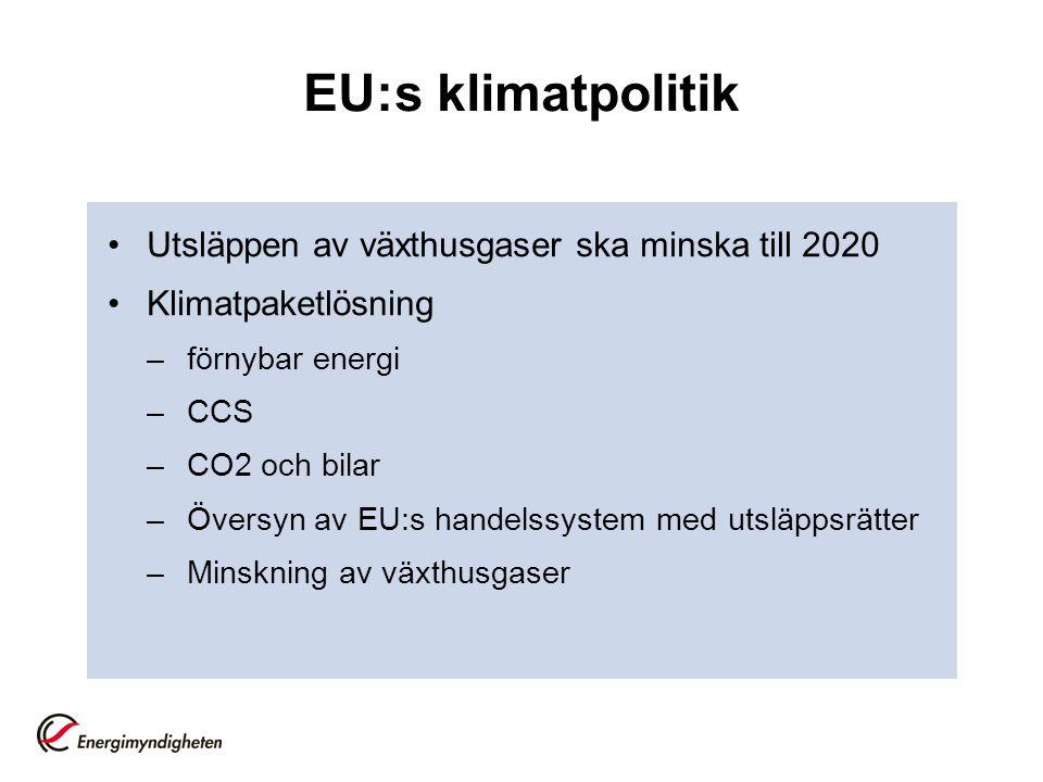 EU:s klimatpolitik Utsläppen av växthusgaser ska minska till 2020 Klimatpaketlösning –förnybar energi –CCS –CO2 och bilar –Översyn av EU:s handelssystem med utsläppsrätter –Minskning av växthusgaser