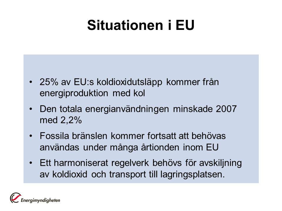 Situationen i EU 25% av EU:s koldioxidutsläpp kommer från energiproduktion med kol Den totala energianvändningen minskade 2007 med 2,2% Fossila bränslen kommer fortsatt att behövas användas under många årtionden inom EU Ett harmoniserat regelverk behövs för avskiljning av koldioxid och transport till lagringsplatsen.