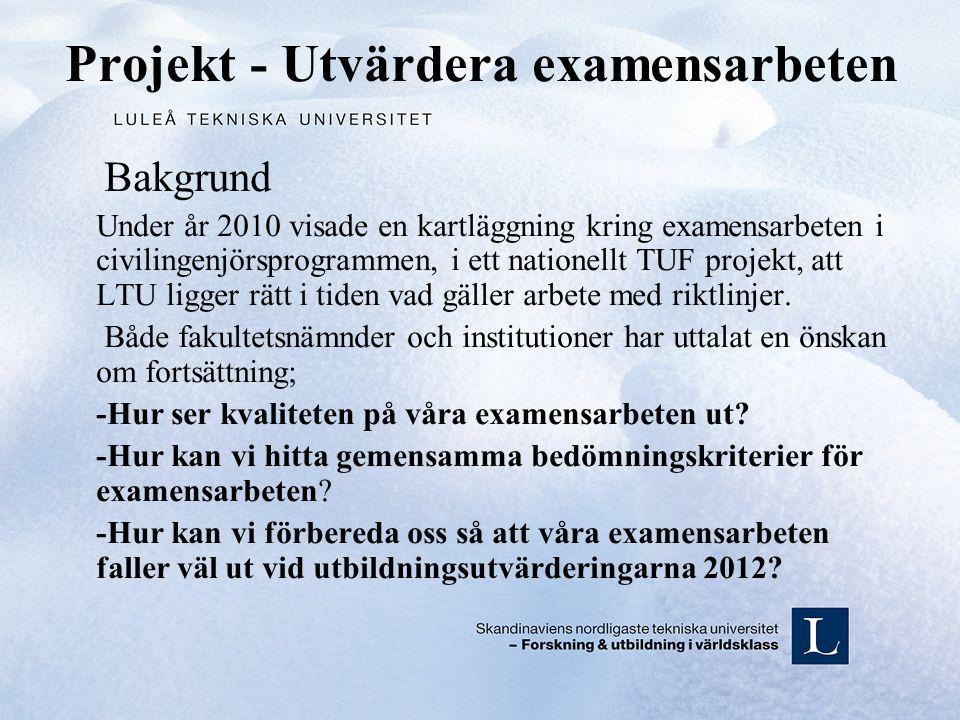 Projekt - Utvärdera examensarbeten Bakgrund Under år 2010 visade en kartläggning kring examensarbeten i civilingenjörsprogrammen, i ett nationellt TUF projekt, att LTU ligger rätt i tiden vad gäller arbete med riktlinjer.