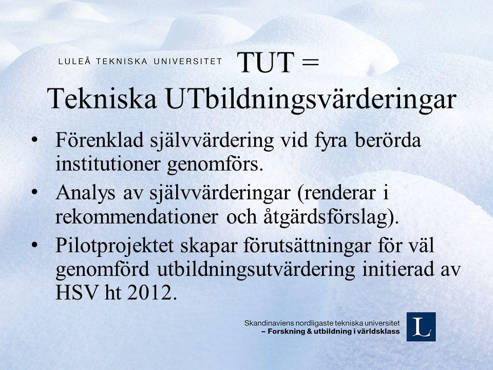 TUT = Tekniska UTbildningsvärderingar Förenklad självvärdering vid fyra berörda institutioner genomförs.