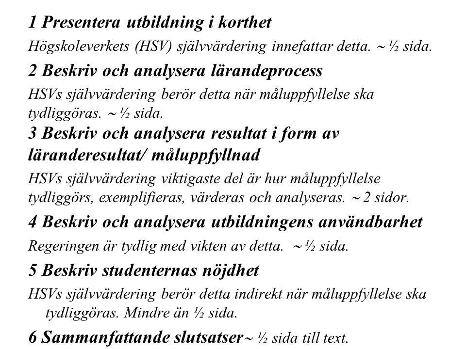 1 Presentera utbildning i korthet Högskoleverkets (HSV) självvärdering innefattar detta.