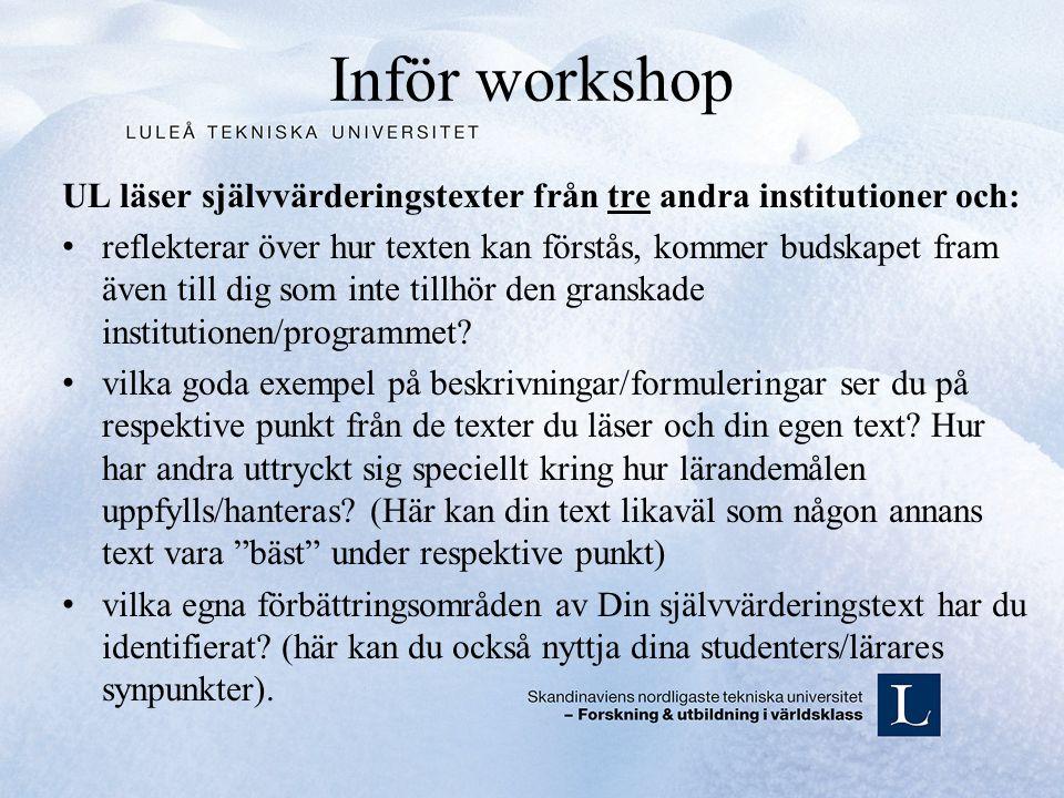 Inför workshop UL läser självvärderingstexter från tre andra institutioner och: reflekterar över hur texten kan förstås, kommer budskapet fram även till dig som inte tillhör den granskade institutionen/programmet.