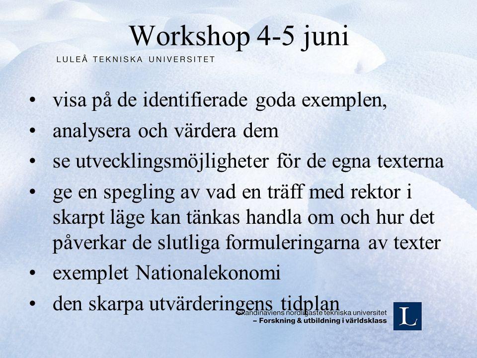 Workshop 4-5 juni visa på de identifierade goda exemplen, analysera och värdera dem se utvecklingsmöjligheter för de egna texterna ge en spegling av vad en träff med rektor i skarpt läge kan tänkas handla om och hur det påverkar de slutliga formuleringarna av texter exemplet Nationalekonomi den skarpa utvärderingens tidplan