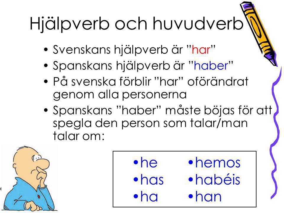 """Hjälpverb och huvudverb he has ha hemos habéis han Svenskans hjälpverb är """"har"""" Spanskans hjälpverb är """"haber"""" På svenska förblir """"har"""" oförändrat gen"""