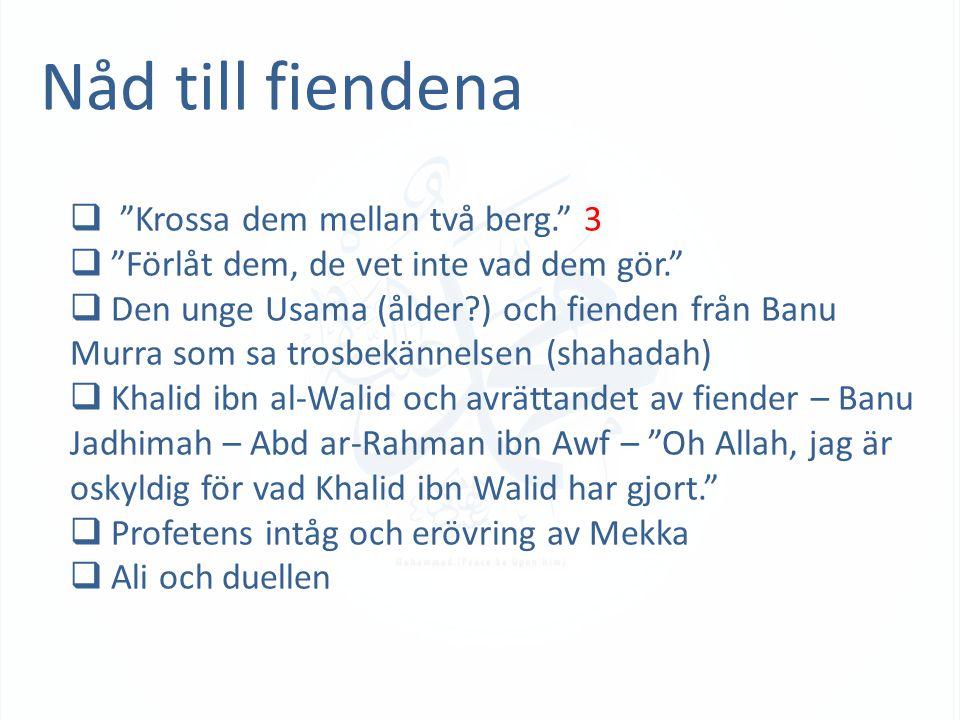 Nåd till fiendena  Krossa dem mellan två berg. 3  Förlåt dem, de vet inte vad dem gör.  Den unge Usama (ålder ) och fienden från Banu Murra som sa trosbekännelsen (shahadah)  Khalid ibn al-Walid och avrättandet av fiender – Banu Jadhimah – Abd ar-Rahman ibn Awf – Oh Allah, jag är oskyldig för vad Khalid ibn Walid har gjort.  Profetens intåg och erövring av Mekka  Ali och duellen