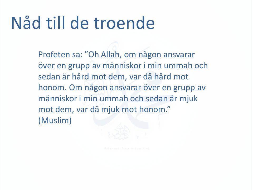 """Nåd till de troende Profeten sa: """"Oh Allah, om någon ansvarar över en grupp av människor i min ummah och sedan är hård mot dem, var då hård mot honom."""