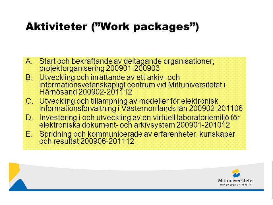 Aktiviteter ( Work packages ) A.Start och bekräftande av deltagande organisationer, projektorganisering 200901-200903 B.Utveckling och inrättande av ett arkiv- och informationsvetenskapligt centrum vid Mittuniversitetet i Härnösand 200902-201112 C.Utveckling och tillämpning av modeller för elektronisk informationsförvaltning i Västernorrlands län 200902-201106 D.Investering i och utveckling av en virtuell laboratoriemiljö för elektroniska dokument- och arkivsystem 200901-201012 E.Spridning och kommunicerade av erfarenheter, kunskaper och resultat 200906-201112