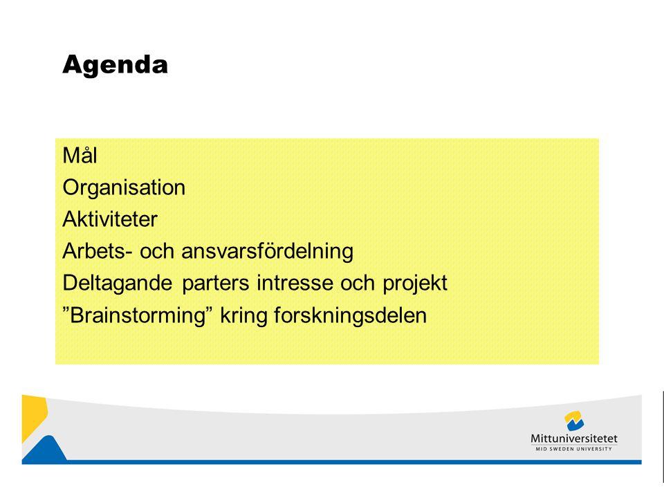 Agenda Mål Organisation Aktiviteter Arbets- och ansvarsfördelning Deltagande parters intresse och projekt Brainstorming kring forskningsdelen