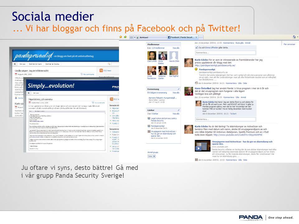 Sociala medier... Vi har bloggar och finns på Facebook och på Twitter.