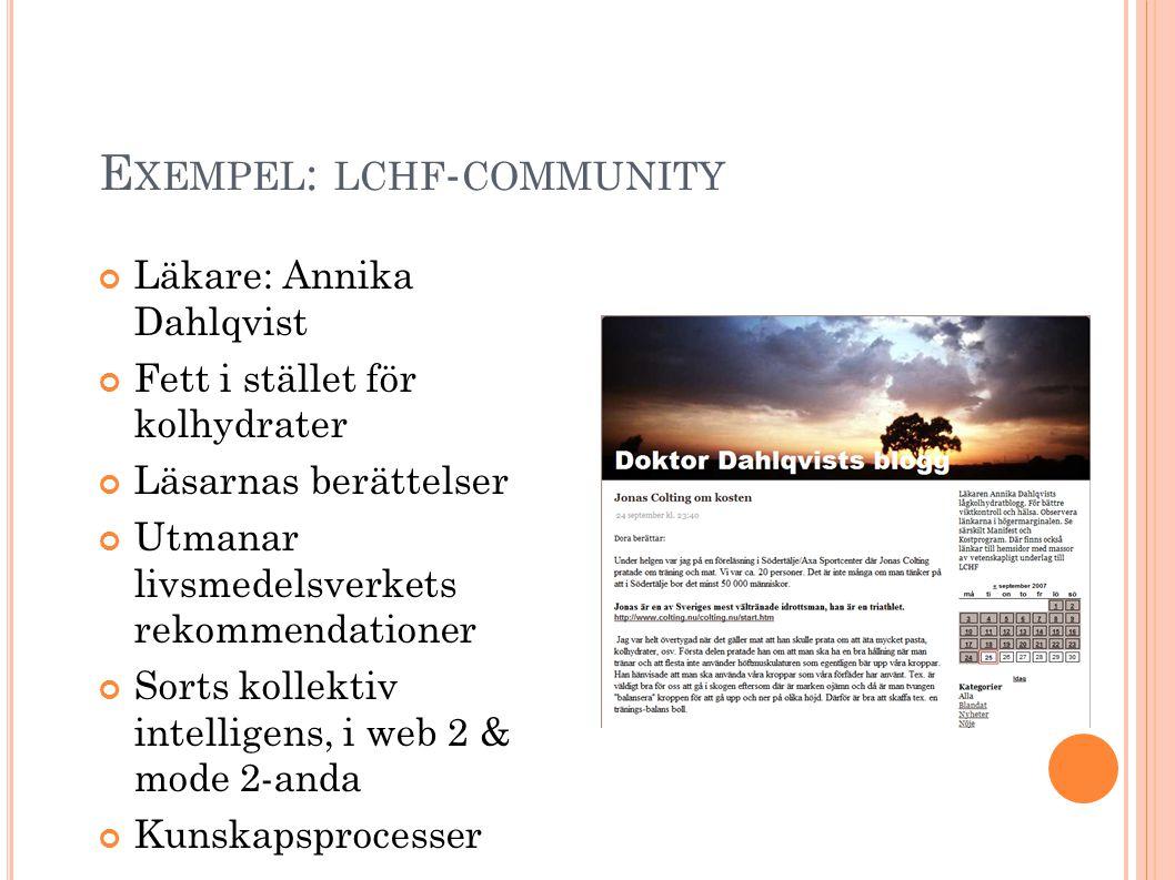 E XEMPEL : LCHF - COMMUNITY Läkare: Annika Dahlqvist Fett i stället för kolhydrater Läsarnas berättelser Utmanar livsmedelsverkets rekommendationer Sorts kollektiv intelligens, i web 2 & mode 2-anda Kunskapsprocesser