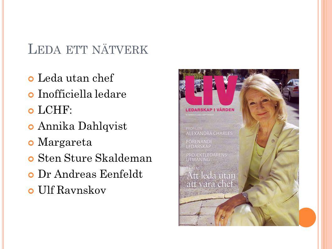L EDA ETT NÄTVERK Leda utan chef Inofficiella ledare LCHF: Annika Dahlqvist Margareta Sten Sture Skaldeman Dr Andreas Eenfeldt Ulf Ravnskov