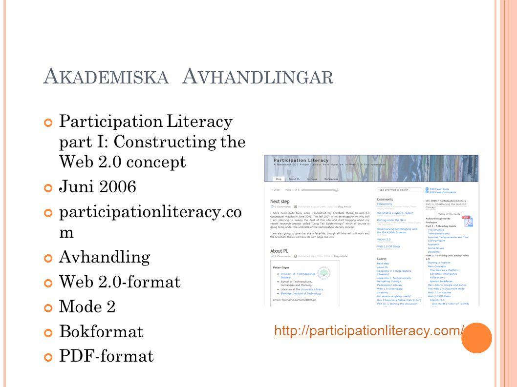 A KADEMISKA T IDSKRIFTER International Journal of Feminist Technoscience Internationell tidskrift Open Peer Review Web 2.0 Mode 2 Teknovetenskapliga Studier + internationellt nätverk http://feministtechnoscience.se/