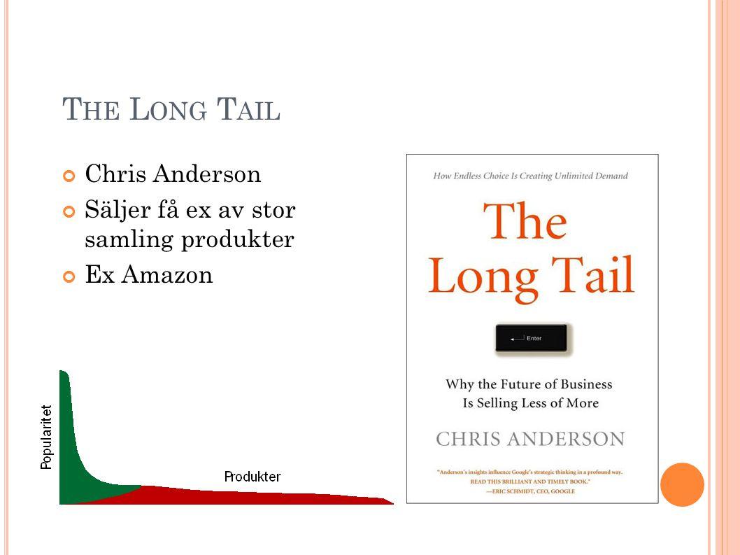 T HE L ONG T AIL Chris Anderson Säljer få ex av stor samling produkter Ex Amazon