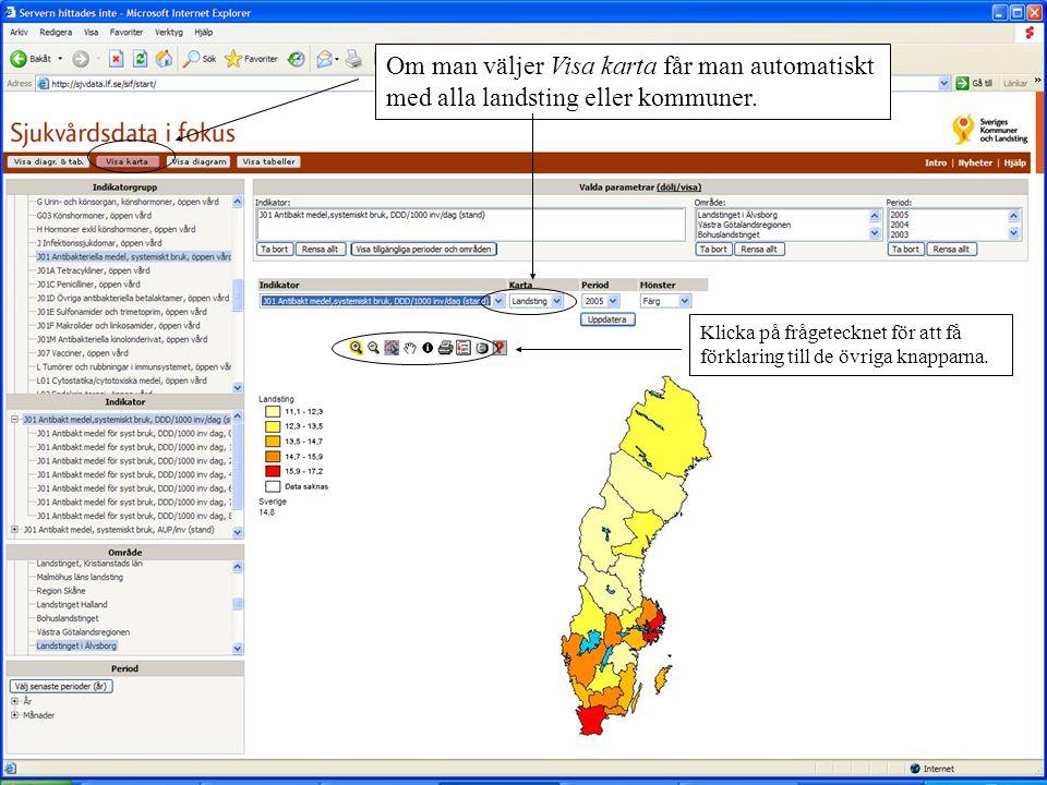 Om man väljer Visa karta får man automatiskt med alla landsting eller kommuner. Klicka på frågetecknet för att få förklaring till de övriga knapparna.