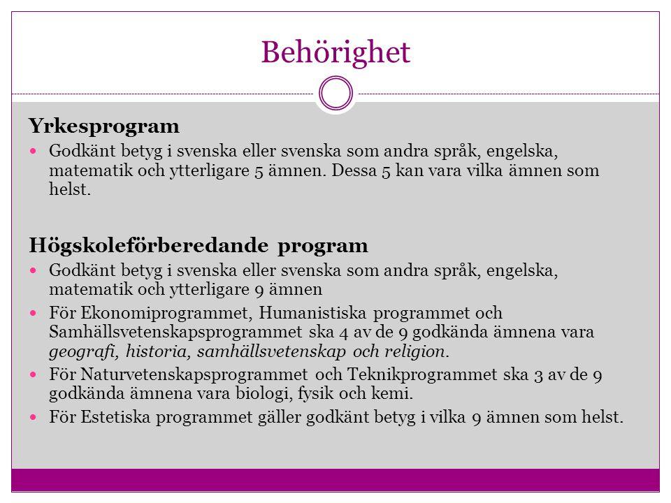 Behörighet Yrkesprogram Godkänt betyg i svenska eller svenska som andra språk, engelska, matematik och ytterligare 5 ämnen. Dessa 5 kan vara vilka ämn