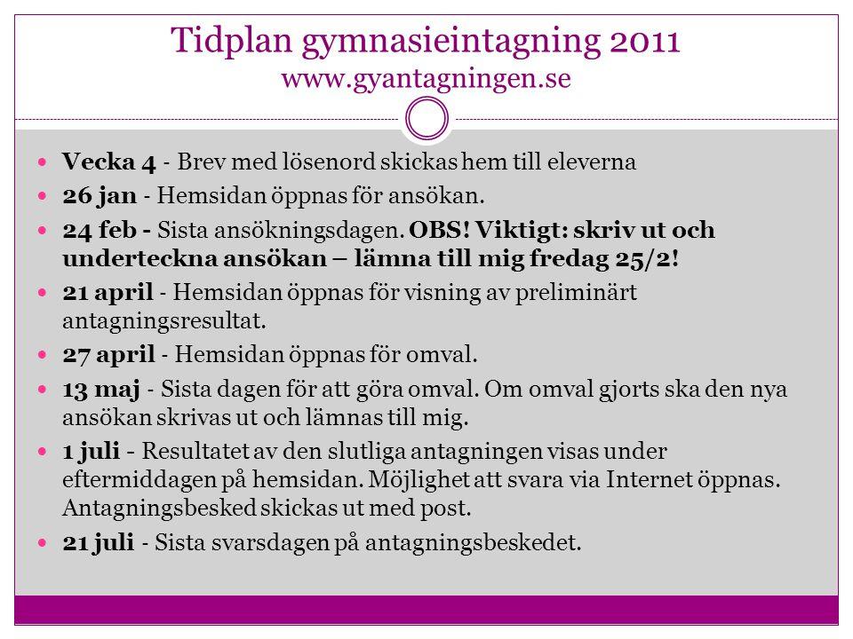 Tidplan gymnasieintagning 2011 www.gyantagningen.se Vecka 4 ‐ Brev med lösenord skickas hem till eleverna 26 jan ‐ Hemsidan öppnas för ansökan. 24 feb