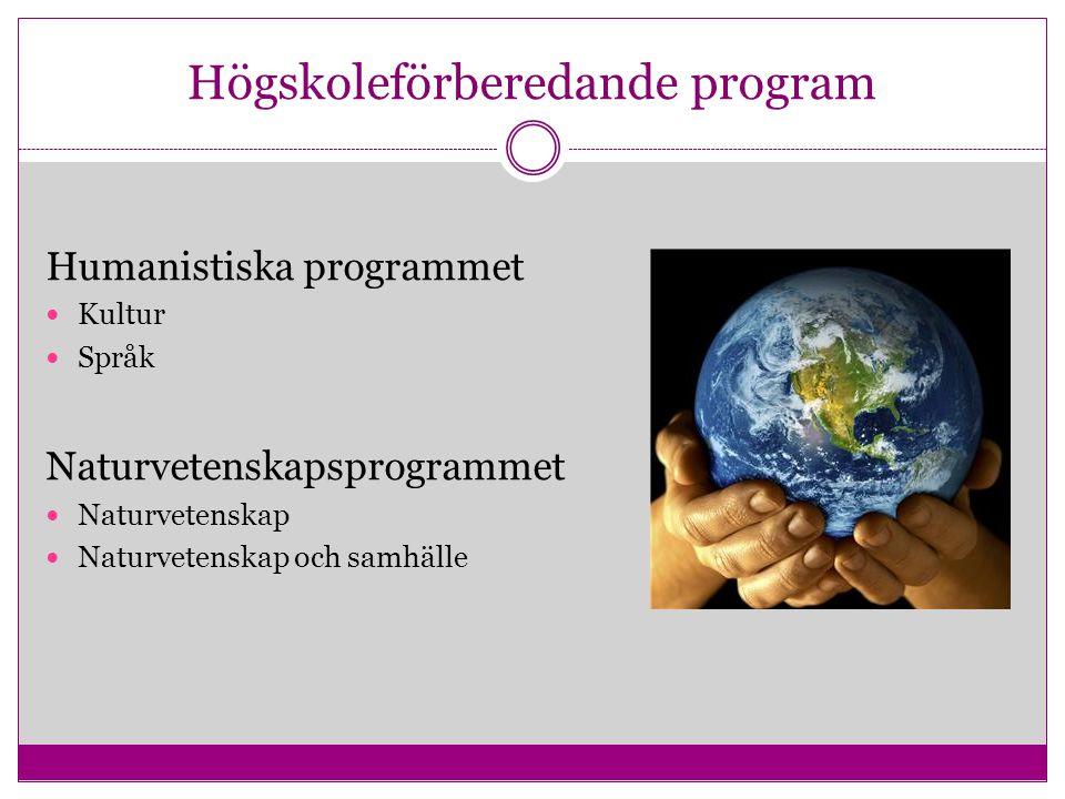Högskoleförberedande program Humanistiska programmet Kultur Språk Naturvetenskapsprogrammet Naturvetenskap Naturvetenskap och samhälle