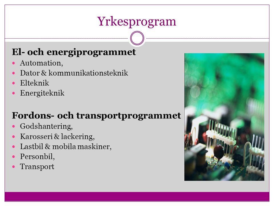 Yrkesprogram El- och energiprogrammet Automation, Dator & kommunikationsteknik Elteknik Energiteknik Fordons- och transportprogrammet Godshantering, K