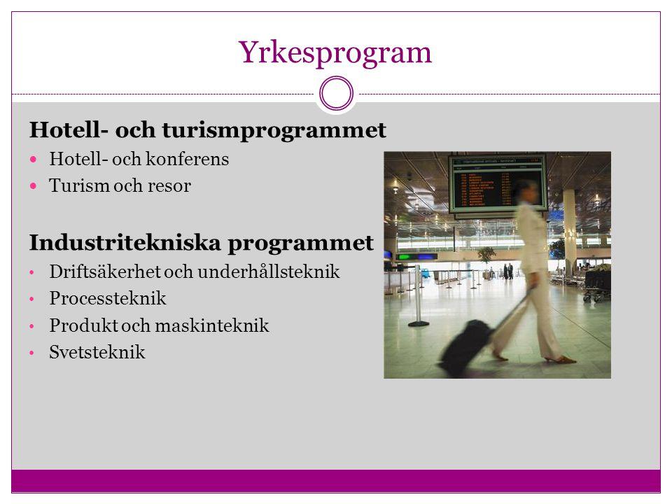 Yrkesprogram Hotell- och turismprogrammet Hotell- och konferens Turism och resor Industritekniska programmet Driftsäkerhet och underhållsteknik Proces