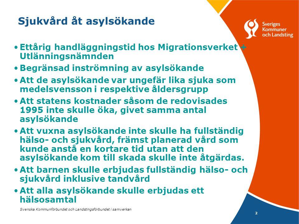 Svenska Kommunförbundet och Landstingsförbundet i samverkan 3 Sjukvård åt asylsökande Antalet asylsökande var under 2004 c:a 39000 Betydligt högre vårdkonsumtion än de bosatta 12% av alla vårdtillfällen i barnpsykiatri 4% av alla vårdtillfällen i vuxenpsykiatri 3% av alla vårddagar i sluten psykiatrisk vård Stora skillnader mellan landstingen inom barnpsykiatrin, från 45% av alla vårdtill- fällen till 1%.