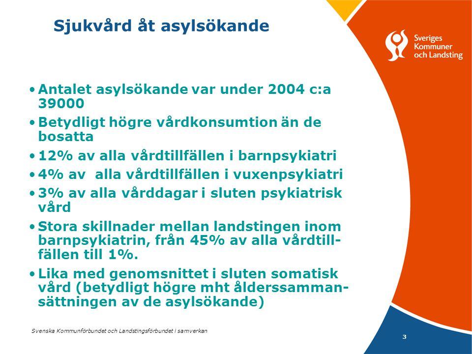 Svenska Kommunförbundet och Landstingsförbundet i samverkan 4 Sjukvård åt asylsökande Antalet slutenvårdsdagar per barn 7 – 18 år är oförändrat mellan åren 2003 och 2004, (0,98 resp 0,97 dagar) Antalet vårdtillfällen har minskat mellan åren från 0,12 till 0,07 per barn.
