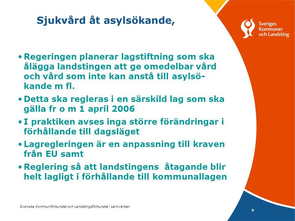 Svenska Kommunförbundet och Landstingsförbundet i samverkan 9 Sjukvård åt asylsökande, Regeringen planerar lagstiftning som ska ålägga landstingen att ge omedelbar vård och vård som inte kan anstå till asylsö- kande m fl.
