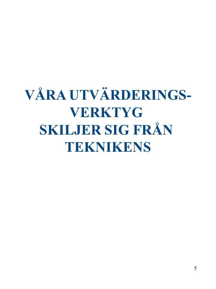 5 VÅRA UTVÄRDERINGS- VERKTYG SKILJER SIG FRÅN TEKNIKENS