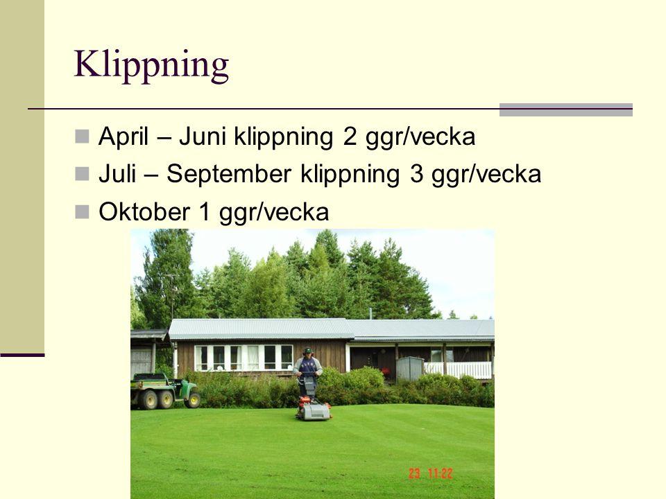 Klippning April – Juni klippning 2 ggr/vecka Juli – September klippning 3 ggr/vecka Oktober 1 ggr/vecka