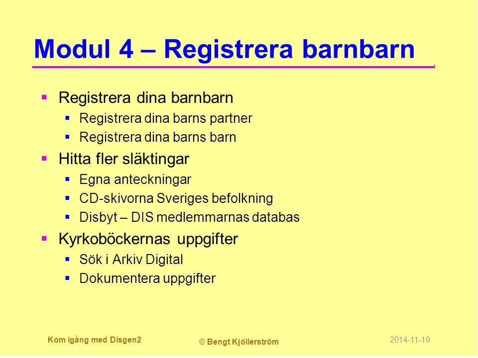 Kyrkoarkiven  Sedan 1686 och fram till 1991 har alla svenskar blivit inskrivna i kyrkoböckerna vid de viktiga händelserna dop, konfirmation, bröllop och begravning.