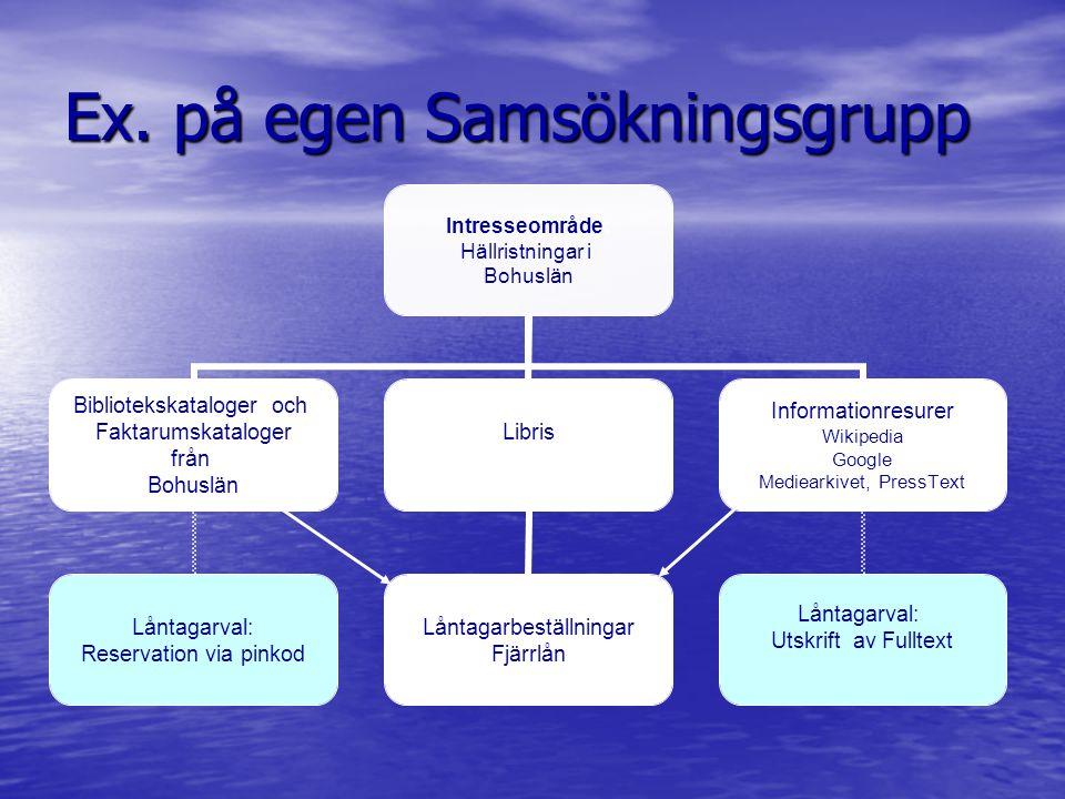 Ex. på egen Samsökningsgrupp Intresseområde: Hällristningar i Bohuslän Bibliotekskataloger och Faktarumskataloger från Bohuslän Låntagarval: Reservati