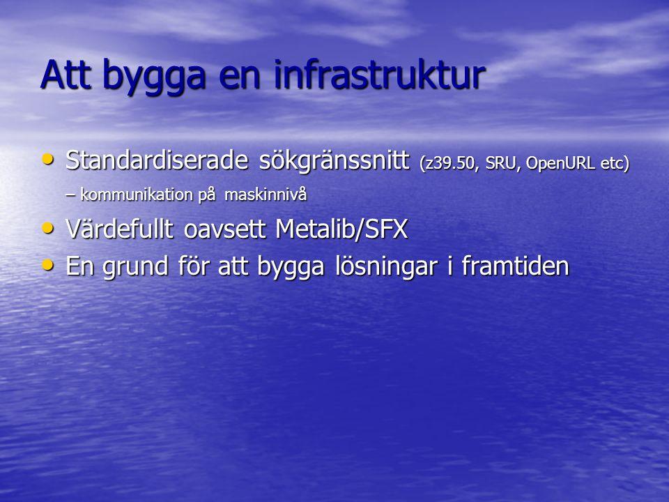 Att bygga en infrastruktur Standardiserade sökgränssnitt (z39.50, SRU, OpenURL etc) – kommunikation på maskinnivå Standardiserade sökgränssnitt (z39.50, SRU, OpenURL etc) – kommunikation på maskinnivå Värdefullt oavsett Metalib/SFX Värdefullt oavsett Metalib/SFX En grund för att bygga lösningar i framtiden En grund för att bygga lösningar i framtiden