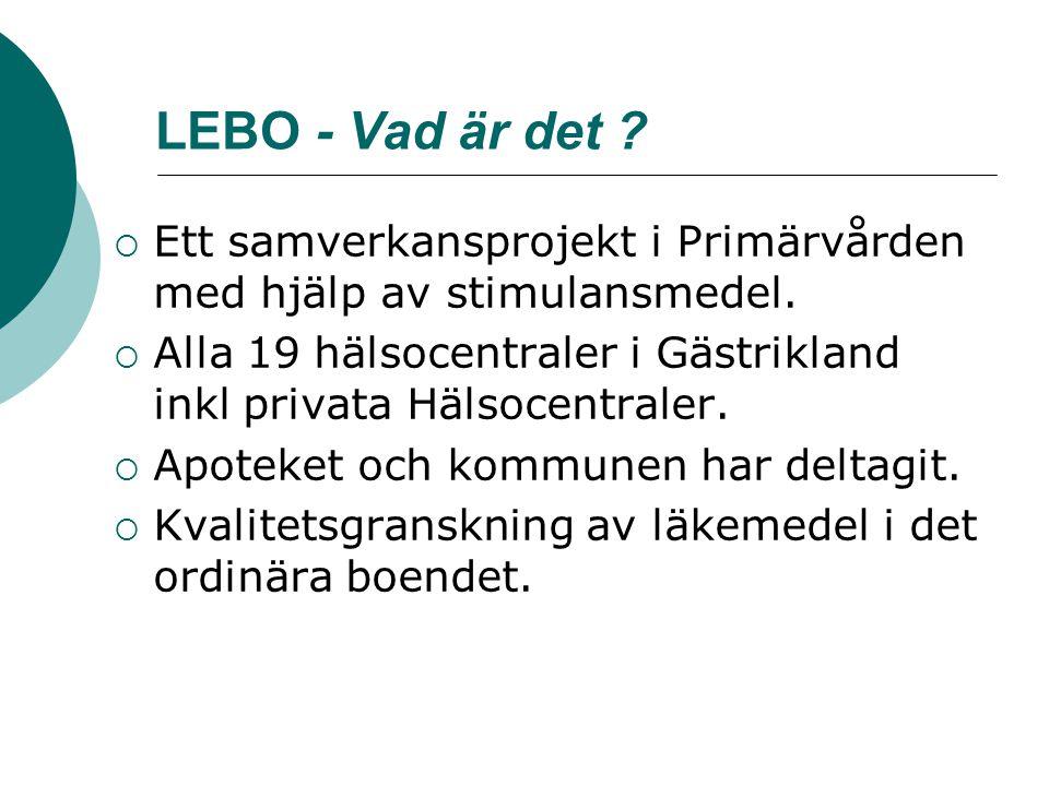 LEBO - Vad är det ?  Ett samverkansprojekt i Primärvården med hjälp av stimulansmedel.  Alla 19 hälsocentraler i Gästrikland inkl privata Hälsocentr