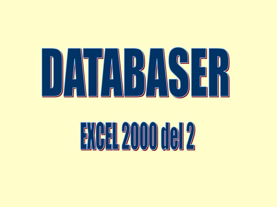 2002-01-23 Copyright Lars Valentin2 Repetition, viktiga funktioner n Sortera (A->Ö Ö->A) (sortera tal?) n Filtrera (Autofilter, välj med knappar) n Avancerat filter (villkorsområde) n Formulär