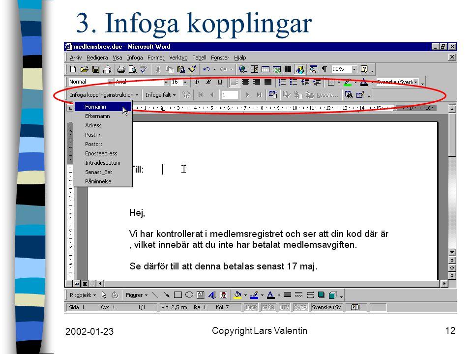 2002-01-23 Copyright Lars Valentin12 3. Infoga kopplingar