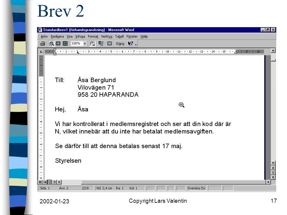 2002-01-23 Copyright Lars Valentin17 Brev 2
