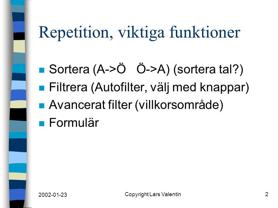 2002-01-23 Copyright Lars Valentin2 Repetition, viktiga funktioner n Sortera (A->Ö Ö->A) (sortera tal ) n Filtrera (Autofilter, välj med knappar) n Avancerat filter (villkorsområde) n Formulär