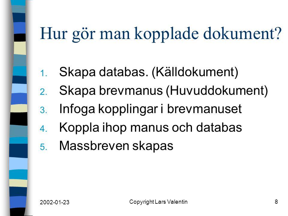 2002-01-23 Copyright Lars Valentin9 1. Databas