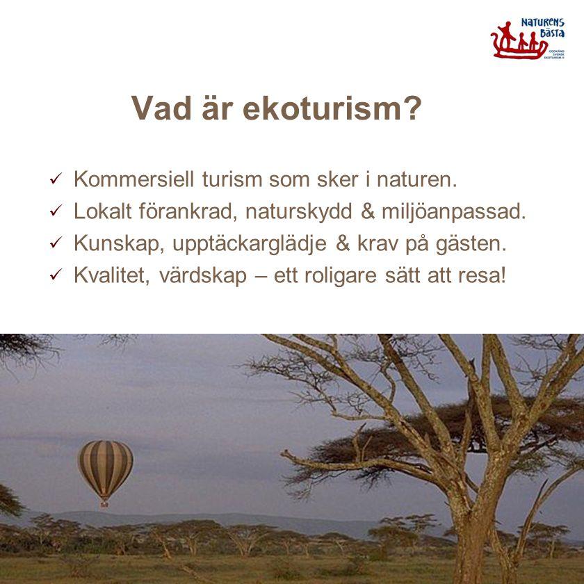 Vad är ekoturism? Kommersiell turism som sker i naturen. Lokalt förankrad, naturskydd & miljöanpassad. Kunskap, upptäckarglädje & krav på gästen. Kval