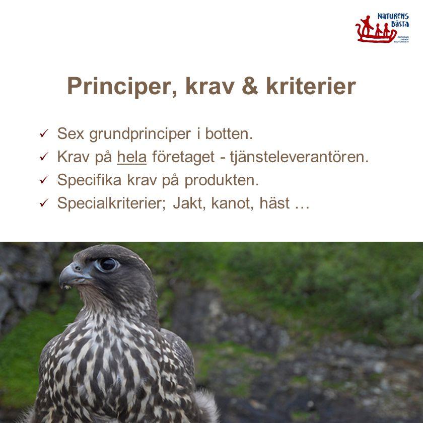 Principer, krav & kriterier Sex grundprinciper i botten. Krav på hela företaget - tjänsteleverantören. Specifika krav på produkten. Specialkriterier;