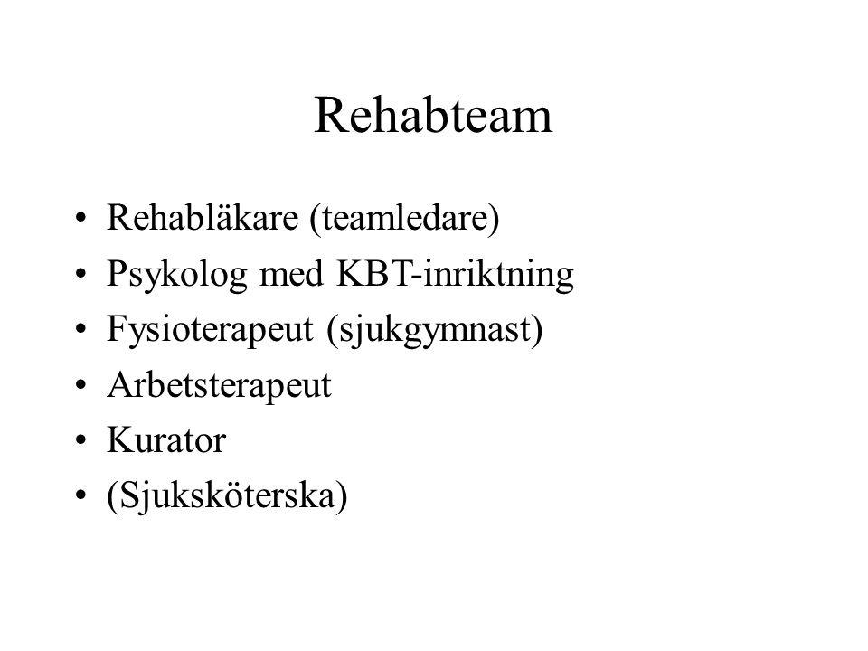 Rehabteam Rehabläkare (teamledare) Psykolog med KBT-inriktning Fysioterapeut (sjukgymnast) Arbetsterapeut Kurator (Sjuksköterska)