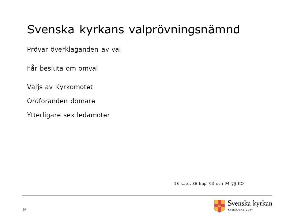 16 Svenska kyrkans valprövningsnämnd Prövar överklaganden av val Får besluta om omval Väljs av Kyrkomötet Ordföranden domare Ytterligare sex ledamöter