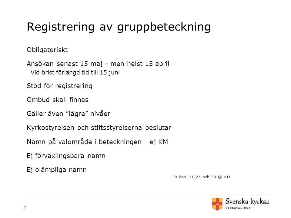 17 Registrering av gruppbeteckning Obligatoriskt Ansökan senast 15 maj - men helst 15 april Vid brist förlängd tid till 15 juni Stöd för registrering