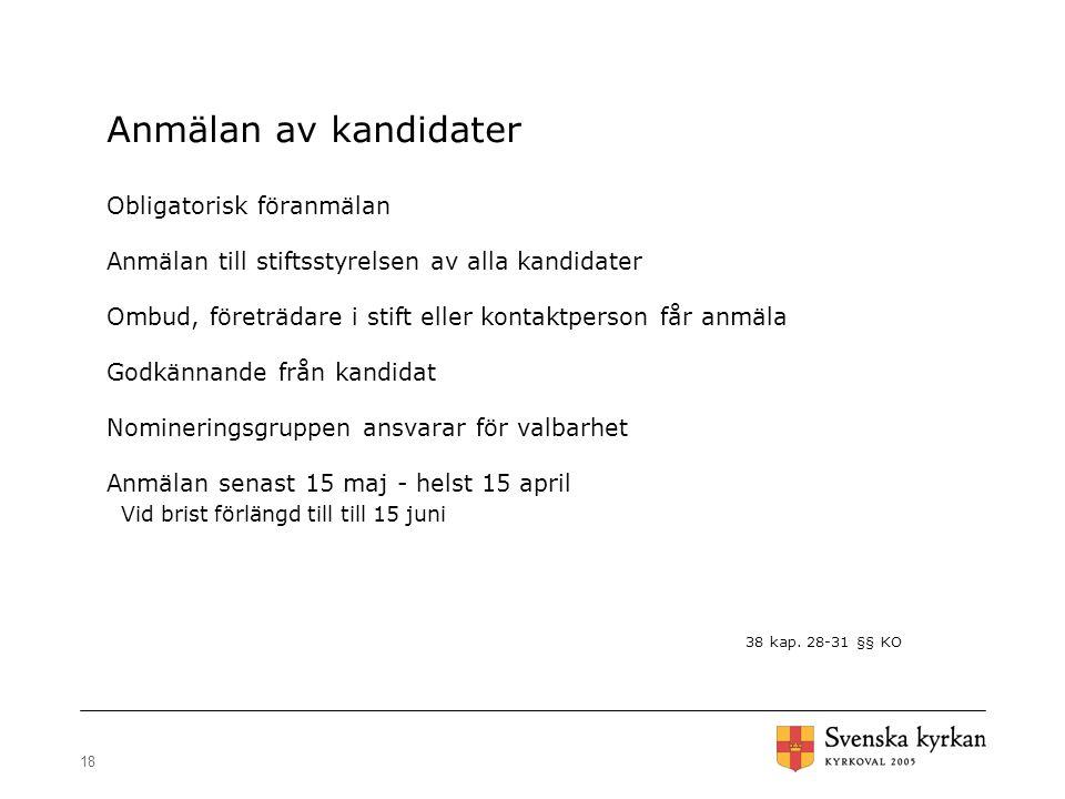 18 Anmälan av kandidater Obligatorisk föranmälan Anmälan till stiftsstyrelsen av alla kandidater Ombud, företrädare i stift eller kontaktperson får an