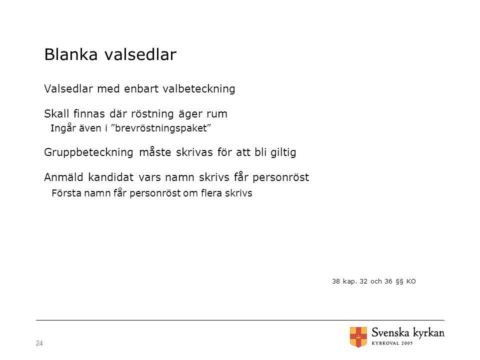 """24 Blanka valsedlar Valsedlar med enbart valbeteckning Skall finnas där röstning äger rum Ingår även i """"brevröstningspaket"""" Gruppbeteckning måste skri"""