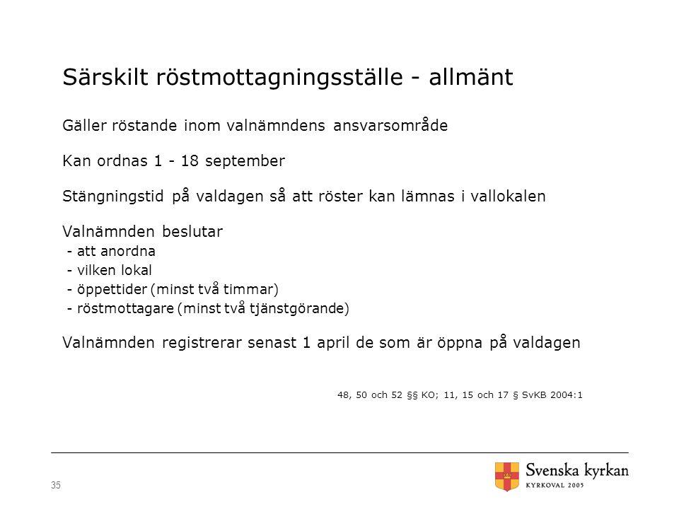 35 Särskilt röstmottagningsställe - allmänt Gäller röstande inom valnämndens ansvarsområde Kan ordnas 1 - 18 september Stängningstid på valdagen så at