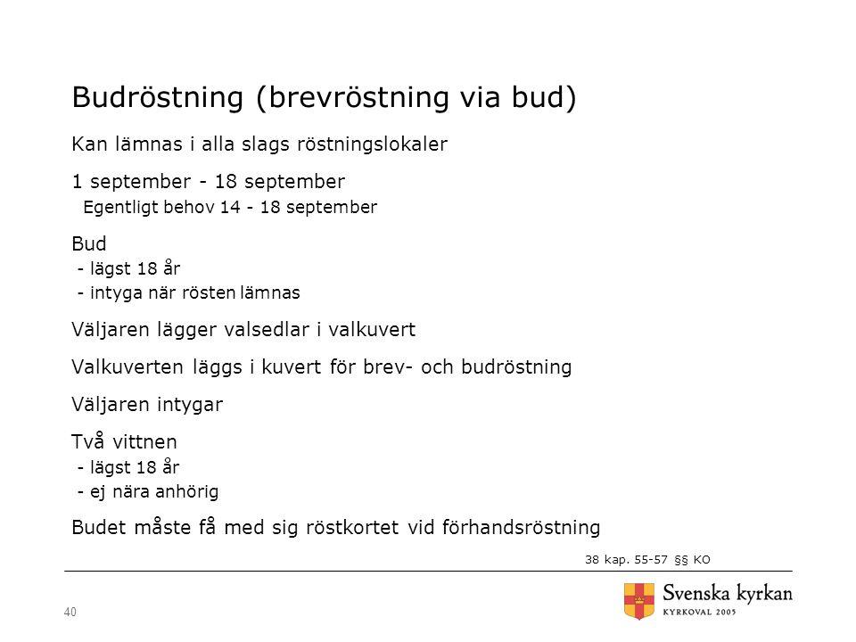 40 Budröstning (brevröstning via bud) Kan lämnas i alla slags röstningslokaler 1 september - 18 september Egentligt behov 14 - 18 september Bud - lägs