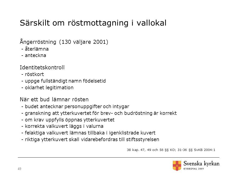 49 Särskilt om röstmottagning i vallokal Ångerröstning (130 väljare 2001) - återlämna - anteckna Identitetskontroll - röstkort - uppge fullständigt na